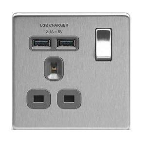 BG Brushed Steel Flatplate Screwless 13A 開關插座連USB充電接口