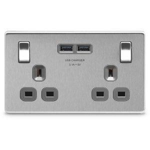 BG Brushed Steel 13A 雙開關插座連USB充電/BG USB充電面板