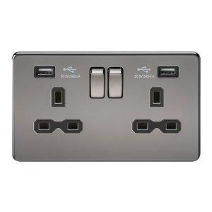 Knightsbridge Screwless Black Nickel 13A 雙開關插座連USB充電接口
