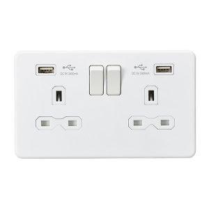 (需預訂) Knightsbridge Screwless Matt White 13A 雙開關插座連USB充電接口