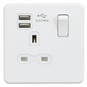 (需預訂) Knightsbridge Screwless Matt White 13A 開關插座連USB充電接口