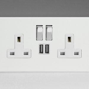 VARILIGHT Premium White 珍珠白 13A 雙開關插座連USB充電接口