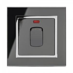 Retrotouch Crystal Range 20A燈曲雙極開關-黑色